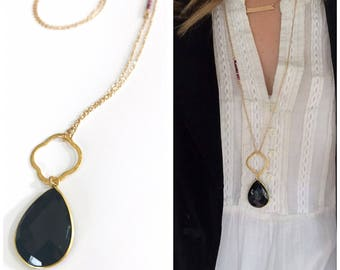 Black Onyx with Clover Ring Necklace