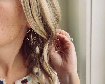 Modern Hoop with Rod Earrings