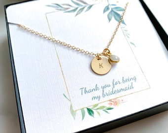 Initial Necklace with Birthstone- Perfect Bridesmaid Necklace!