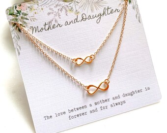 Gold Infinity Mother and Daughter Necklace Set
