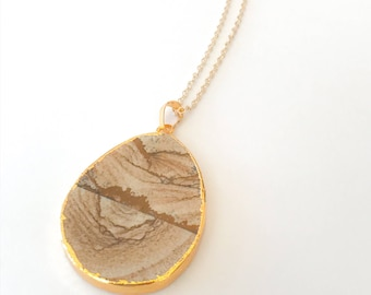 Druzy stone necklace, druzy geode, wood grain necklace, brown druzy pendant, brown stone pendant.layering, wood stone necklace, wood pendant