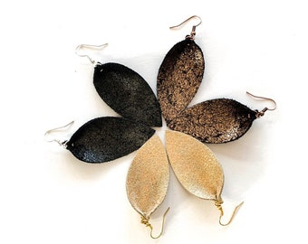 Metallic Tulip Leather Earrings