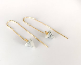 Marble Gold Threader Earrings