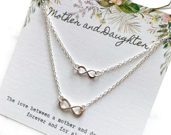 Sterling Silver Infinity Mother and Daughter Necklace Set