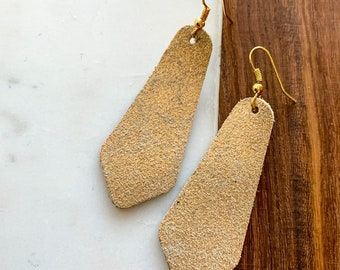 Metallic Bell Leather Earrings