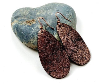 Metallic Leather Drop Earrings- 3 colors available!