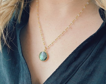 Labradorite with Rosary Necklace