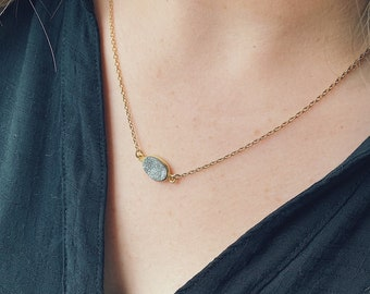 Oval Druzy Necklace- More colors available!