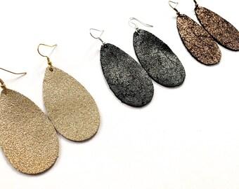 Metallic Leather Drop Earrings- Set of 3