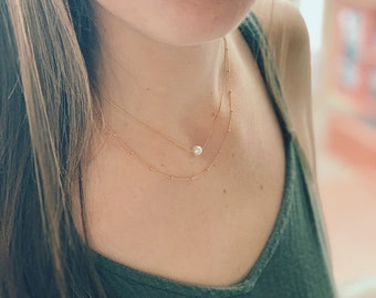 Pearl necklace, petite pearl necklace, layering necklace, silver necklace, dainty necklace, everyday necklace,minimalist,gold necklace