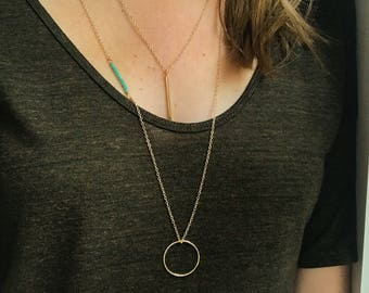 Long gold circle necklace, circle necklace, layering necklace, turquoise necklace, simple gold necklace, everyday necklace,