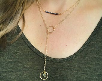 Lariat gold necklace, circle necklace, bridesmaid necklace, layering necklace,  sapphire necklace, simple gold necklace, birthstone necklace