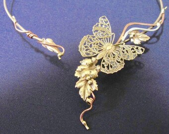 BUTTERFLY with leaves and copper vines choker necklace torque
