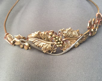 HEADBAND OR TIARA or hat band with leaves & grapes