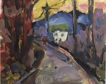 Going Home, expressionist painting, rural road scene with person walking