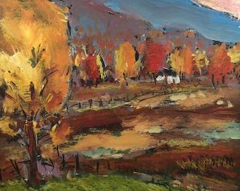 Autumn Farmfields with Hills, Autumn painting