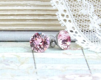 Pink Crystal Studs Solitaire Earrings Large Crystal Studs Crystal Stud Earrings Surgical Steel 8mm Studs