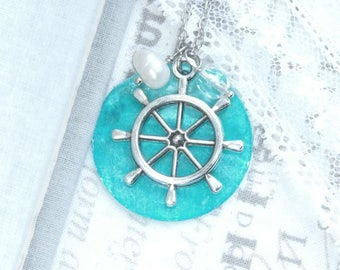 Blue Shell Necklace Ship Wheel Necklace Large Shell Necklace Blue Ocean Necklace Ship Wheel Gift