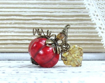 Red Pumpkin Necklace Squash Necklace Fall Necklace Harvest Necklace Pumpkin Gift Autumn Necklace