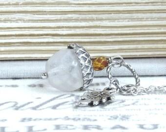 White Acorn Necklace Nature Necklace Woodland Necklace Acorn Gift Autumn Necklace Acorn Pendant