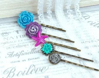 Summer Hair Pins Flower Hair Pin Set Blue Flower Hair Pin Pink And Purple Hair Pin Set Beach Hair Pins