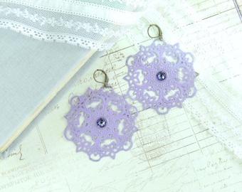 Purple Dangle Earrings Boho Chic Earrings Extra Large Earrings Purple Filigree Earrings Bohemian Earrings