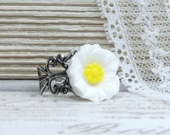 White Poppy Ring Woodland Ring White Flower Ring Poppy Jewelry Adjustable Ring Wildflower Ring