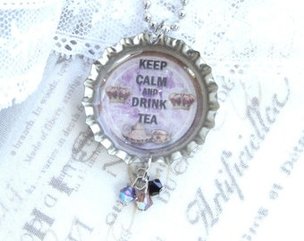 Keep Calm And Drink Tea Necklace Tea Lover Gift Tea Jewelry Bottle Cap Necklace Tea Party Necklace