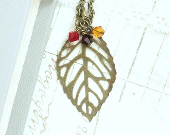 Filigree Leaf Necklace Fall Jewelry Large Leaf Necklace Autumn Jewelry Large Leaf Pendant Leaf Jewelry