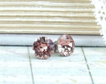 Blush Pink Crystal Studs Solitaire Earrings Pink Crystal Stud Earrings 8mm Studs Surgical Steel