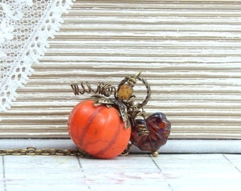 Autumn Necklace Pumpkin Pendant Necklace Fall Necklace Halloween Necklace Pumpkin Jewelry Orange Pumpkin