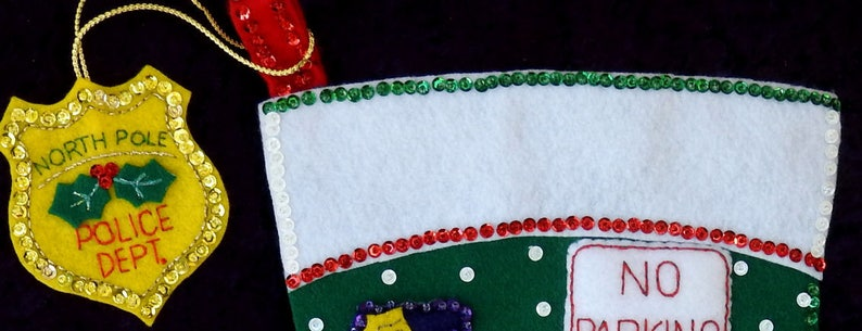 Bucilla Officer Santa Holiday Felt Stocking AND Ornament Finished Lined 18 Completed New Hand Sewn Ready to Ship Beaded Sequins Sleigh