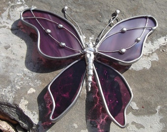 Lavender Plum Stained Glass Butterfly SUNCATCHER