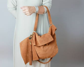 Leather hobo bag in brown suede  - leather hobo, leather tote, caramel leather bag, slouchy hobo bag