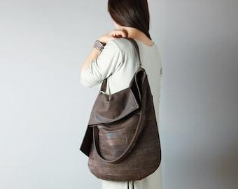 Big leather hobo bag in chocolate - leather hobo, leather tote, brown leather bag, slouchy hobo bag
