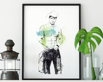Rainbow Kissed Fine Art Shirtless Male Photo Print 8x10 Gay MT