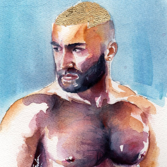 Sagat Porn Star Gay Art Large Watercolor Paintings For Sale Gay Gift Ideas Hot Gay Art Gifts For Men Gay Male Art Paintings