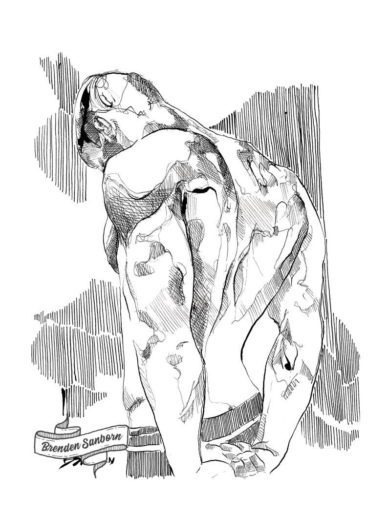 homoerotic painting gay artwork Black and White master bedroom wall art bearded man male figure nude erotic drawing