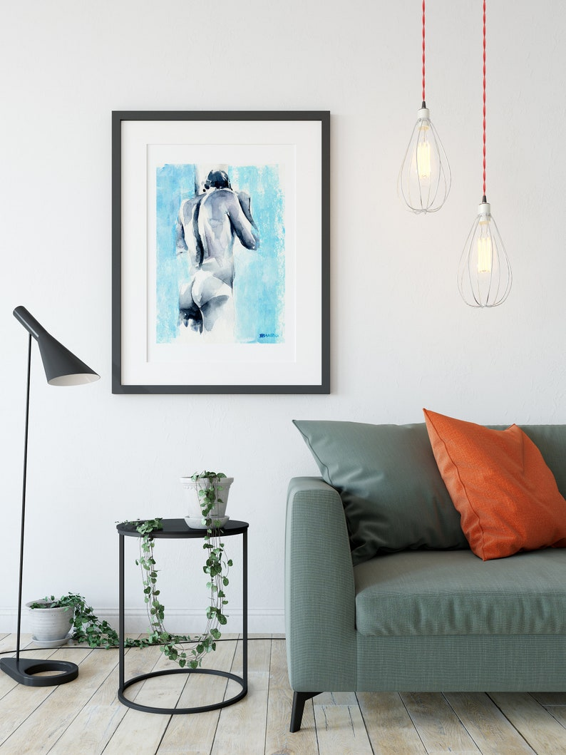 male butt gay artwork present for married couple naked men print queer watercolor art homoerotic man lgbt painting