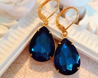 Wedding Jewelry - Blue - Navy Earrings - Victorian - CAMBRIDGE Navy