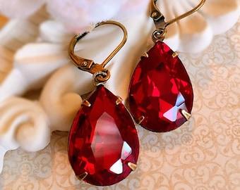 Best Ruby Earrings - Red - Victorian Jewelry - Dangle - CAMBRIDGE Red