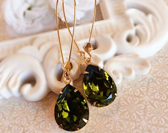 Green Earrings - Olive - Swarovski Earrings - Prom - SOMERSET Olive