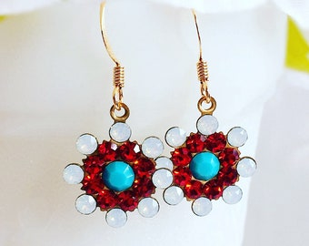 Patriotic Earrings - Red White and Blue Earrings - Summer Jewelry - LIBERTINE