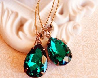 Emerald Earrings - Green Dangle Earrings - Teardrop Earrings - Bridesmaids Earrings - May Birthdatone - SOMERSET Emerald
