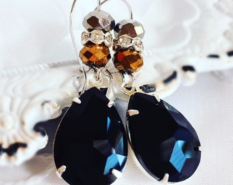 Black Stone Earrings - Crystal Earrings - Dangle Earrings - Mixed Metal Earrings - KISMET Jet