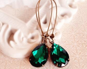 Emerald Dangle Earrings - Green Drop Earrings - Crystal Earrings - Bridesmaid Gifts - SOMERSET Emerald