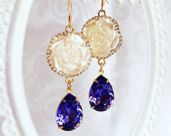 Tanzanite Earrings - Rose Earrings - Lavender Earrings - ELIZA Earrings