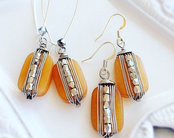 Beaded Earrings - Yellow Earrings - Spring Earrings - Silver - BUTTERSCOTCH SKIES