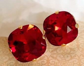 Ruby Stud Earrings - Swarovski - Crystal Earrings -  Classic Earrings - JOLIE Ruby