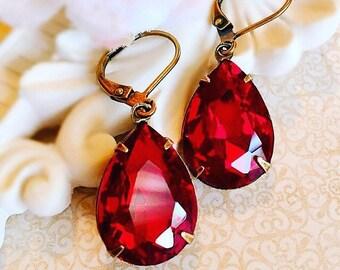Best Red Earrings - Red Crystal Earrings - Victorian Jewelry - Dangle Earrings - CAMBRIDGE Red